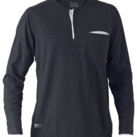 Flex & Move Long Sleeved Cotton Henley T-Shirt – Charcoal