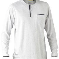 Flex & Move Long Sleeved Cotton Henley T-Shirt – Grey Marle