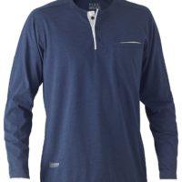 Flex & Move Long Sleeved Cotton Henley T-Shirt – Blue Marle
