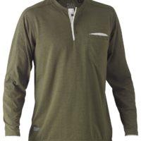 Flex & Move Long Sleeved Cotton Henley T-Shirt – Green Marle