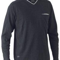 Flex & Move Long Sleeved Cotton V Neck T-Shirt – Charcoal