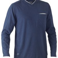 Flex & Move Long Sleeved Cotton V Neck T-Shirt – Blue Marle