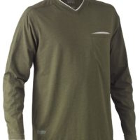 Flex & Move Long Sleeved Cotton V Neck T-Shirt – Green Marle