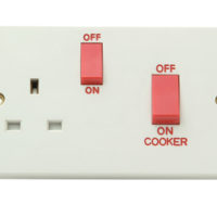 White Switched Cooker Control Unit 45A 1-Gang Clam Pack