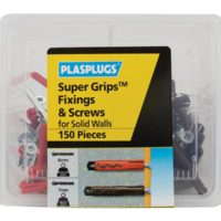 Super Grips™ Fixings & Screws Kit for Solid Walls, 150 Piece