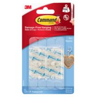 Clear Mini Hooks with Clear Strips (Pack 6)