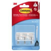 Clear Wire Hooks with Clear Strips (Pack 3)